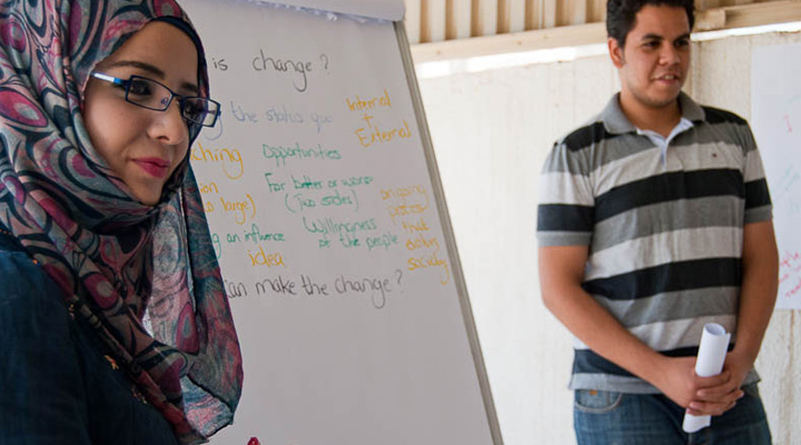 """Training of trainers"", July 2011. Hala (left) from Palestine and Abdrahman from Egypten.  Photo: MS"